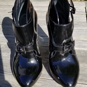 Casadei black patent leather ankle booties